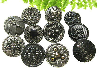 Sparkly Lot Of Lacy Antique Silver Luster Glass Buttons J67