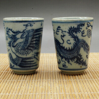 a pair China old hand-made blue and white porcelain Phoenix grain  tea cups