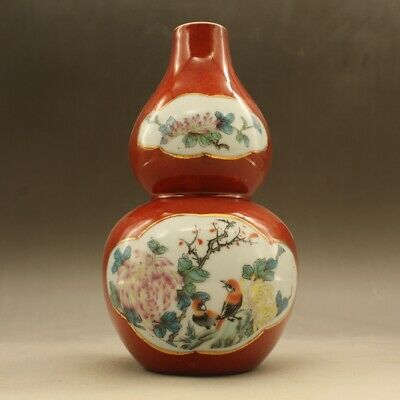 Chinese old hand-made  red glaze Flowers and birds snowscape vase