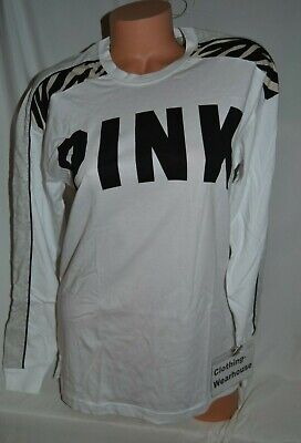 8a70882220721 VICTORIA'S SECRET PINK VS Black White Campus Long Sleeve Tee Shirt ...
