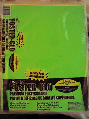 Royal Brites POSTER-GLO premium poster board 5 color variety packs brand new Mad