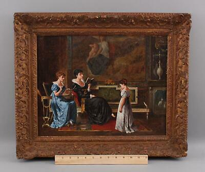 Antique ALLESSANDRO CASTELLI Italian Grand Room Oil Painting Aristocrat Women