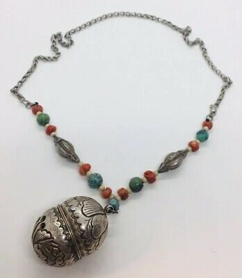 Chinese Antique Sterling Silver Coral & Turquoise Ornate Unusual Rattle Necklace