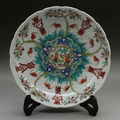 Chinese old hand-made famille rose longevity peaches porcelain dish