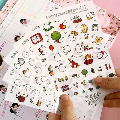 6 Sheets Cute Molang Rabbit Stickers Kawaii Korean Diary Scrapbook Craft Kids