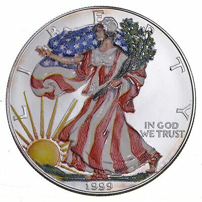 1999 Beautifully Painted/Sticker American Silver Eagle 1 Oz. .999 Fine *294