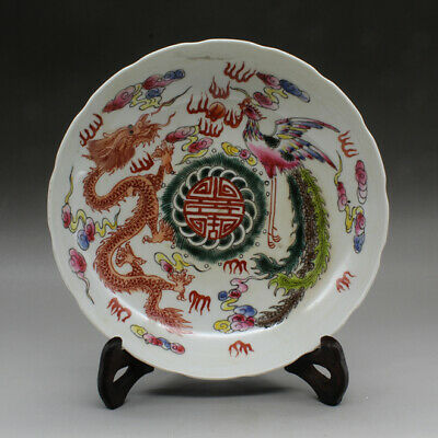 Chinese old hand-made famille rose dragon and phoenix porcelain dish