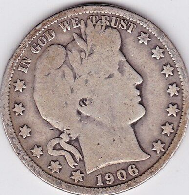 1906 O Barber Half Dollar grades VERY GOOD , FULL RIMS BOTH SIDES stk D8