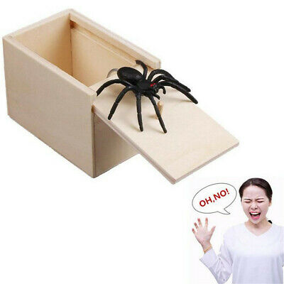Wooden Prank Spider Worm Scare Box Funny Practical Joke Gag Toys Trick HOT