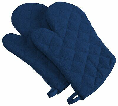 """100% Cotton, Terry Oven Mitts 7 X 13"""", Heat Resistant, Machine Washable Mittens"""