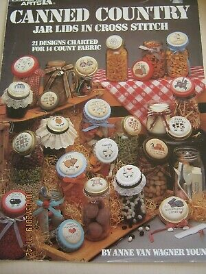 21 Designs For Jar Lids In Crossstitch Animals Fruit Charts For 14Ct Aida