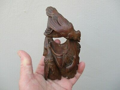 An Antique Carved Wooden Black Forest Wall Pocket c1880