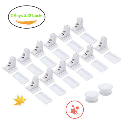 14X Magnetic Cabinet Drawer Cupboard Locks for Child Proofing Baby Kids Safety