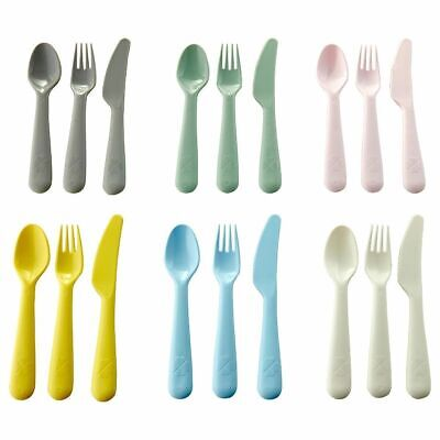 IKEA 18 Pc Plastic Cutlery Set Knife Fork Spoon Picnic Beach Camping Kids Baby