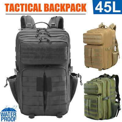 45L Men Large Military Tactical Backpack Camping Cycling Hiking Travel Sport Bag