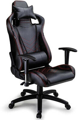 Office Gaming Black Computer Chair 5 Wheels Steel Frame Adjustable Armrests New