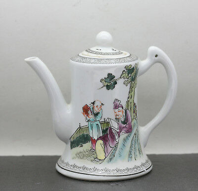 Antique Chinese Republic Hand Painted Teapot Signed & Dated 1930s By 雅雨堂