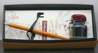 Vintage English Calligraphy Dip Pen & Ink Set Wooden Brass Handle Circa 1980s