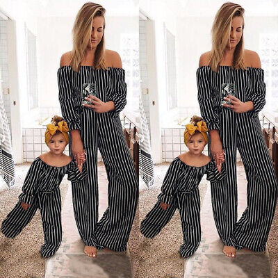 Family Clothes Mother Daughter Romper Women Girl Stripe Tunic Jumpsuit Outfit AU