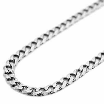 """Mens Womens 14K Real White Gold 3mm Cuban Curb Link Chain Necklace 16"""" - 30"""""""