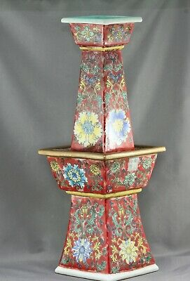 Imposing Antique Chinese Hand Painted Porcelain Two Tiers Candle Holder Marked