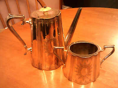 Antique Victorian Silver Plate Coffee Pot & Sugar Bowl/Gallimore 1863-91/Plated