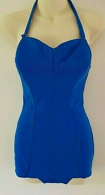 DEADSTOCK - 1940s 50s electric blue pin-up tiki VLV rockabilly swimsuit S8-10