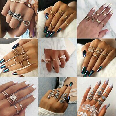 Charm Silver/Gold Boho Knuckle Ring Midi Finger Rings Set Stack Plain Above Gift