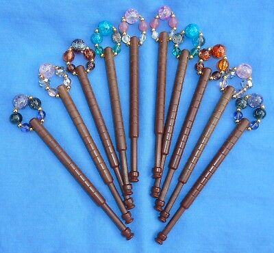 A.   5 Prs (10) Basic Learners Plastic Bobbins  Spangled With Quality Beads.