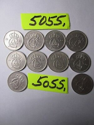 10 x Ten Ore  coins    Sweden   10  gms      Mar5055