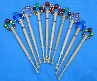 H1. 5 Prs (10) Lemon Wood  Bobbins Spangled Quality Beads Into Matching Pairs