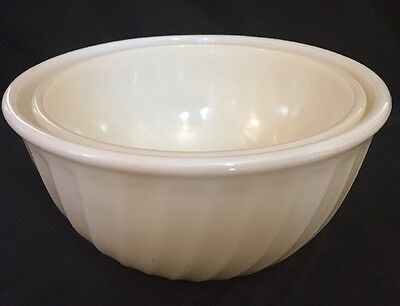 Vintage Fire King Pair of Ivory Swirl Serving Mixing Bowls