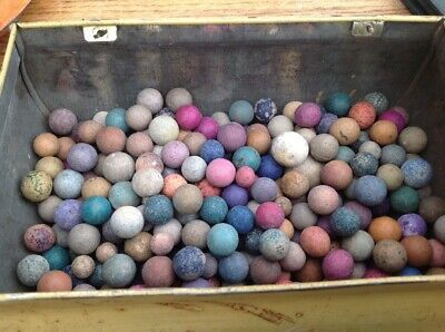 ESTATE FIND! 270+ Approx.Antique clay marbles mixed types - in tin £38.00