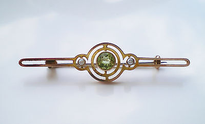Fine Antique Victorian 9ct Gold Peridot & Pearl Brooch c1890