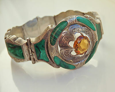 Antique Victorian Scottish Silver Cairngorm Citrine & Malachite Bracelet c1880