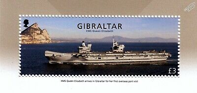 HMS QUEEN ELIZABETH R08 Royal Navy Aircraft Carrier Warship Stamp/2018 Gibraltar