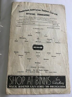 SUNDERLAND v DERBY 1946/47 PROGRAMME 1ST GAME AFTER THE WAR
