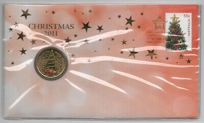 2011 Australia Pnc: Christmas - Trim The Tree With Large Gem/bu Color $1 Coin