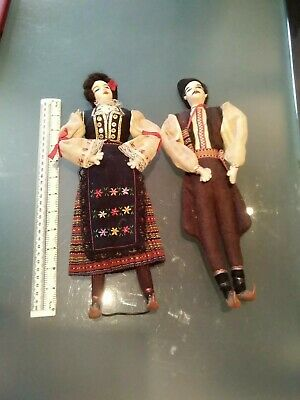 VINTAGE RUSSIAN COSTUME dolls pair 35cms USSR Cossack hand stitched. moccasins