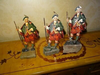 Antique Cameron Clan - 18C Scots Figure-Wood with Colour Facings Mtd on Granite