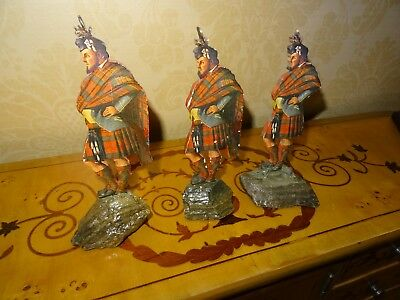 MacDonald -Antique 18C Scots Clan Figure-Wood with Colour Facings Mtd on Granite