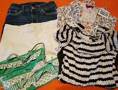 Girls Spring & Summer Clothes Lot 5 Size 10 Rompers, Shorts, Swimsuit