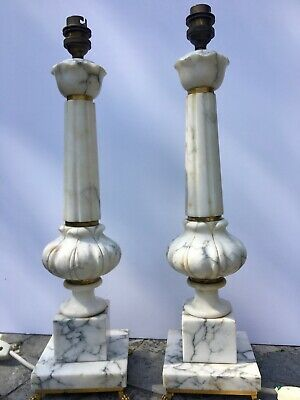 pair of antique white grey marble table lamps with lion paw feet