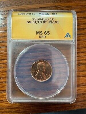 ANACS 1960-D/D RPM 100 Small Date over Large Date Doubled Die Obverse MS65 Red
