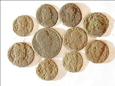10 ANCIENT ROMAN COINS AE3 - Uncleaned and As Found! - Unique Lot 09139