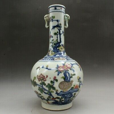 China old hand-made blue and white porcelain Flowers & birds gall bladder vase
