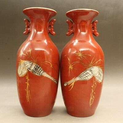a pair China old hand-made  porcelain red glaze vase with two ears/hongde mark