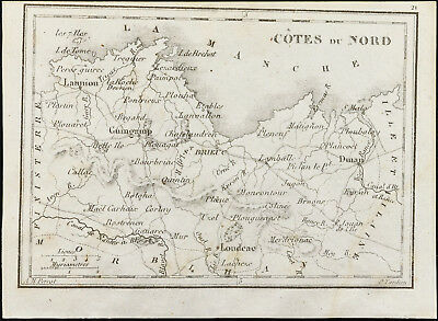 1830ca - North Side (D-Sides' Armor) - Old Map of the Département. Tardieu