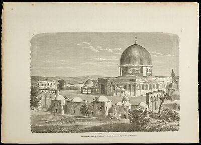 1860 - the Dome of the Rocher, Jerusalem - Engraving on Wood - Mosque D' Omar