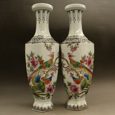 a pair Chinese old hand-made famille rose porcelain Flowers and birds vase